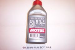 BR. Brake Fluid, DOT 3 & 4.